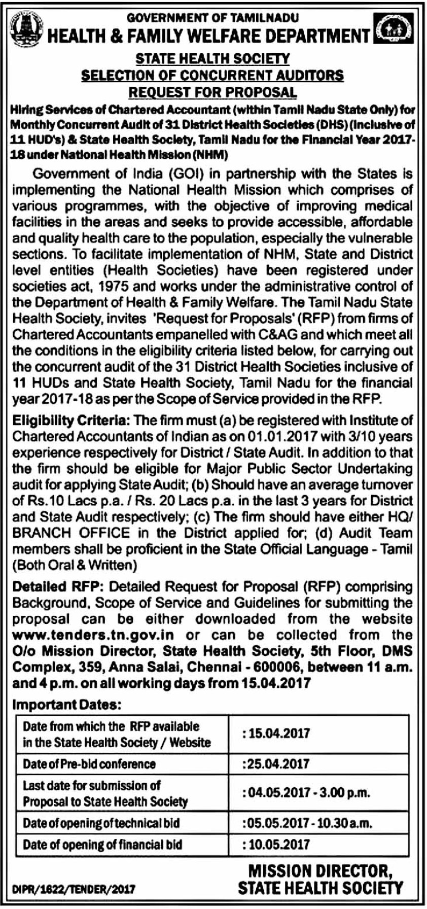 Hiring of CA for Concurrent Audit Of 31 District Health Societies -Health And Family Welfare Department - Chennai Tamil Nadu