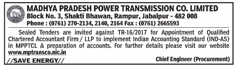 Empanelment of CA firm in Madhya Pradesh Power Transmission Company Limited